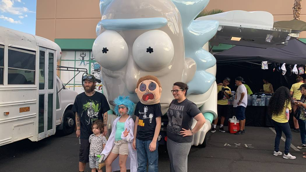 Hundreds of Las Vegas Rick and Morty fans stood in line at the Rickmobile popup on Thursday, Au ...