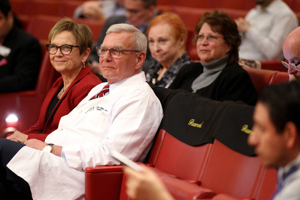 Diane Z. Chase, UNLV provost, left, sits with Dr. John Fildes, University Medical Center chief ...