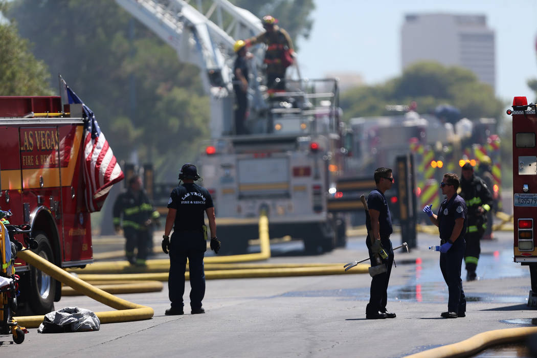 The scene of a structural fire near the intersection of Losee Road and W Lake Mead Boulevard in ...