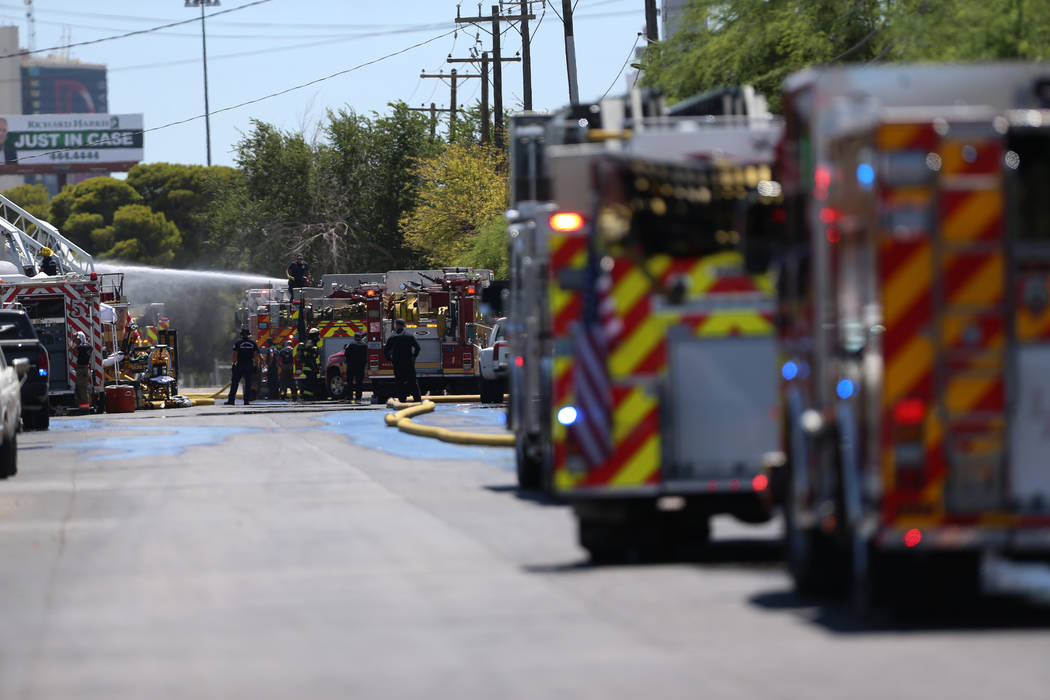 The scene of a structural fire near the intersection of Losee Road and West Lake Mead Boulevard ...