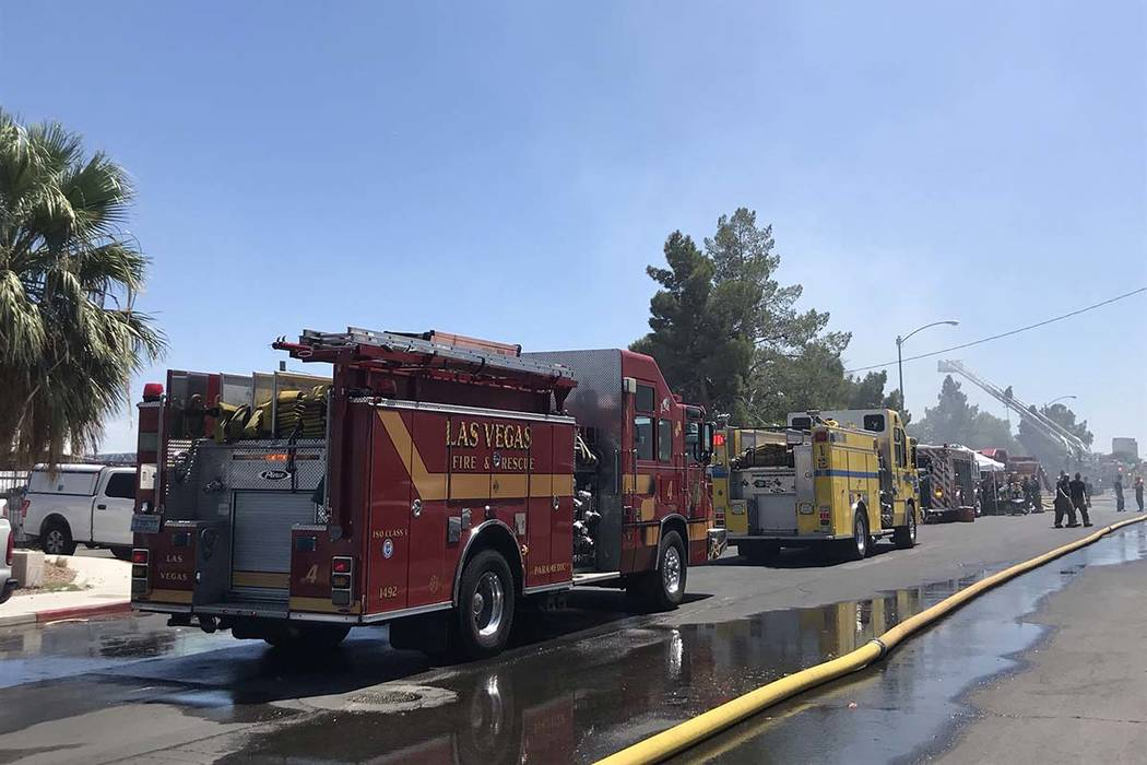 Warehouse fire at 1818 Losee Road, near Lake Mead Boule ...