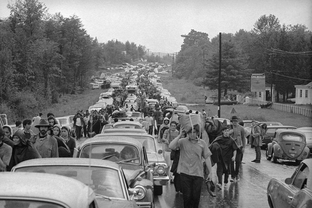 Hundreds of rock music fans jam highway leading from Bethel, New York, Aug. 16, 1969 as they tr ...