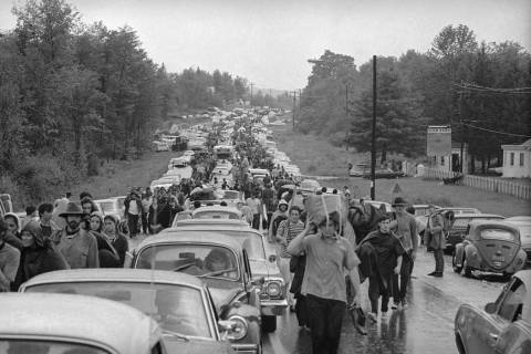 Hundreds of rock music fans jam highway leading from Bethel, New York, Aug. 16, 1969, as they t ...