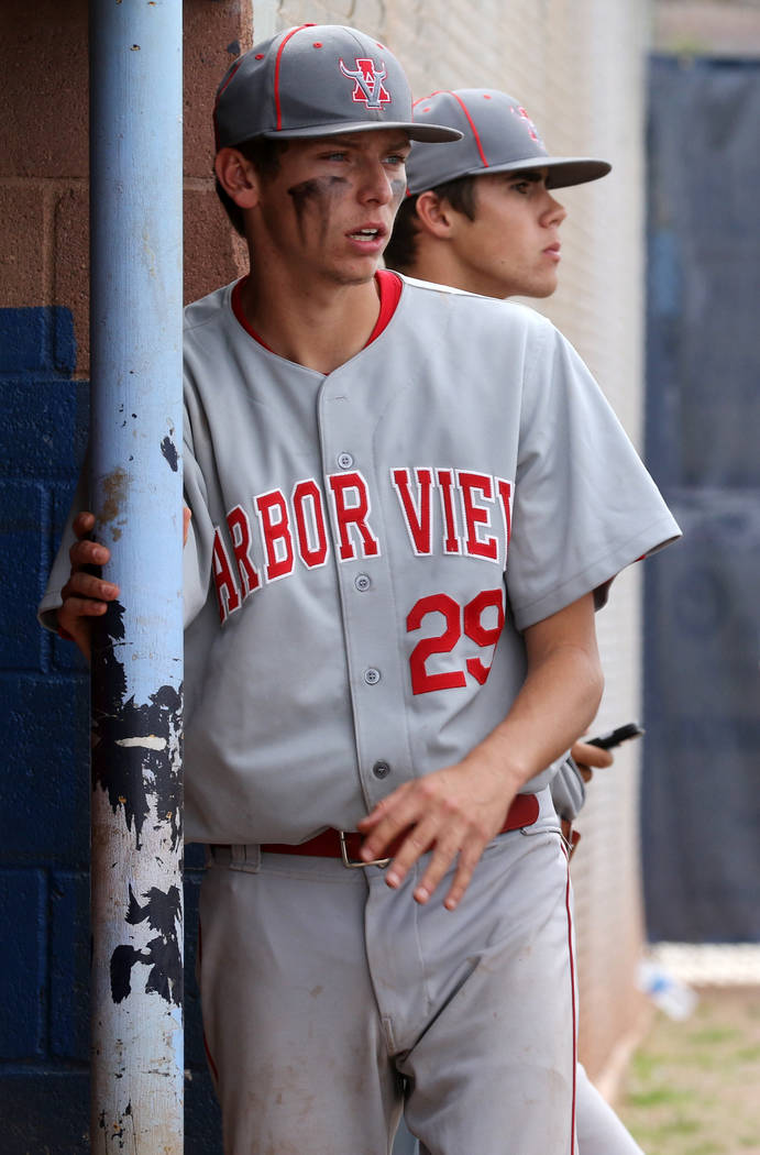 Arbor View pitcher Brennan Holligan, left, who played on the Mountain Ridge team during the 201 ...