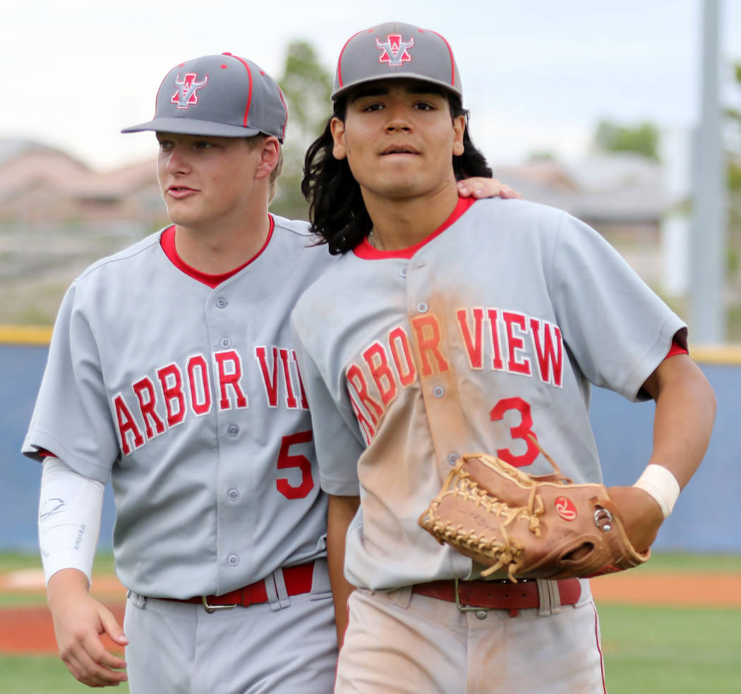 Arbor View baseball players, Justin Hausner, left, and Dominic Clayton, who played for the Moun ...
