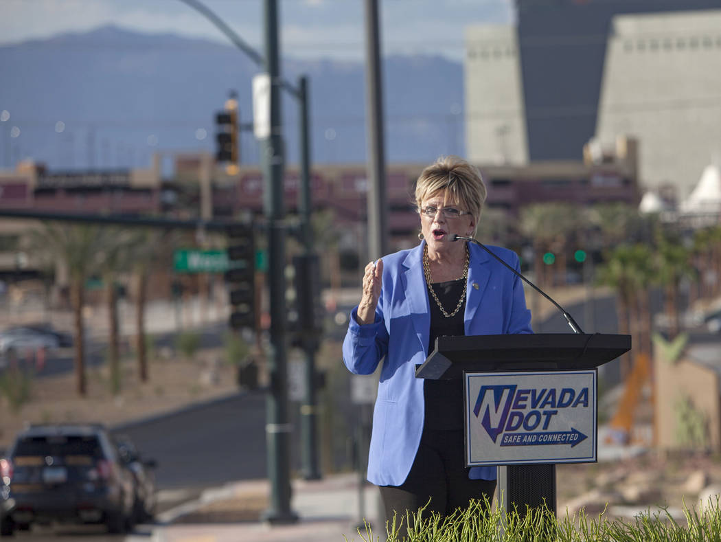 Las Vegas Mayor Carolyn Goodman addresses guests in front of the reconstructed Charleston Inter ...