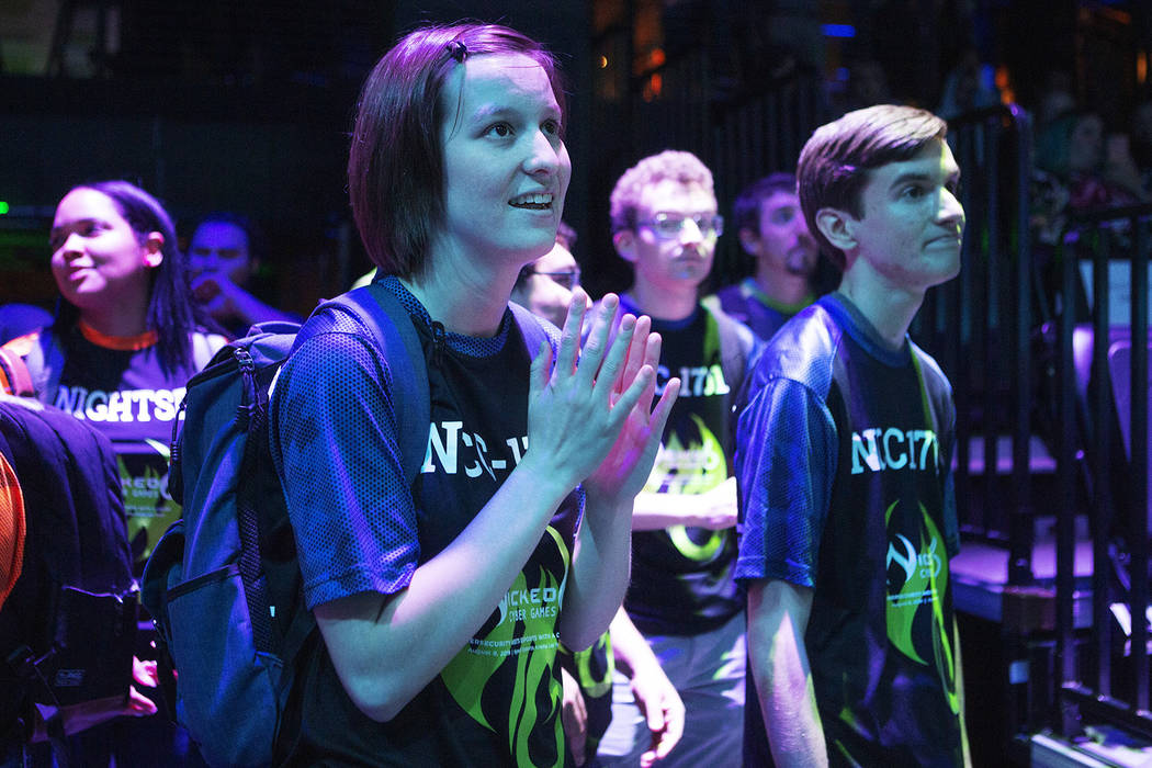 Jamie Poston, 23, left, from the University of Nevada Reno, waits in anticipation with members ...