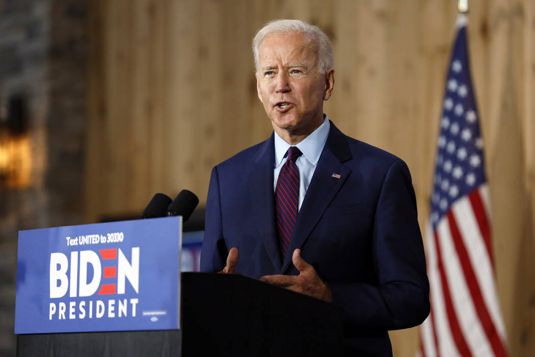 Democratic presidential candidate former Vice President Joe Biden speaks to local residents dur ...