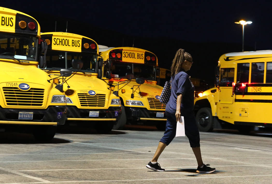 Clark County School District bus driver Sheila Diggins arrives at the Wallace Transportation Ya ...