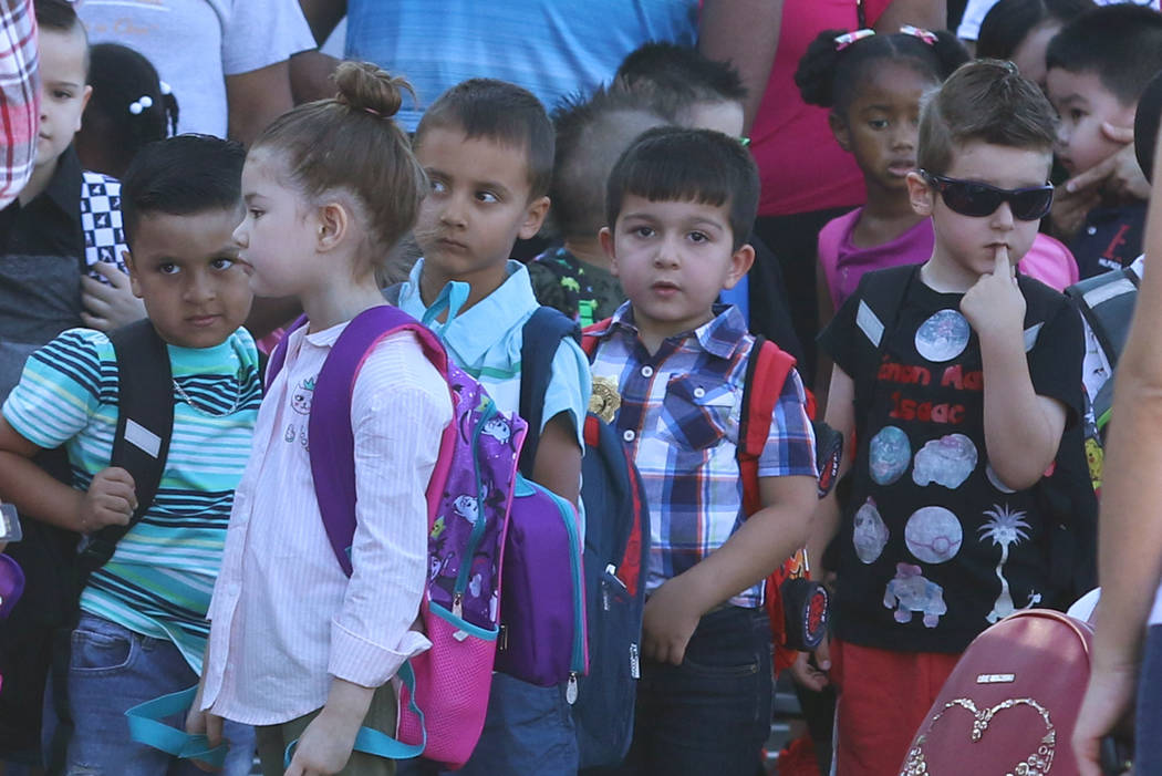 Kindergartners at Roberta Cartwright Elementary School lined up to enter their classroom during ...