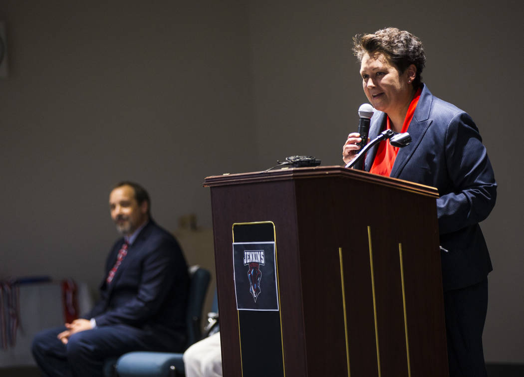 Principal Deborah Palermo speaks during a ribbon-cutting ceremony for Earl Jenkins Elementary S ...