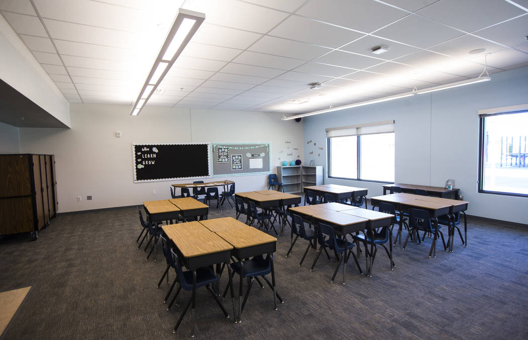 An empty classroom at Earl Jenkins Elementary School in east Las Vegas on Friday, Aug. 9, 2019. ...