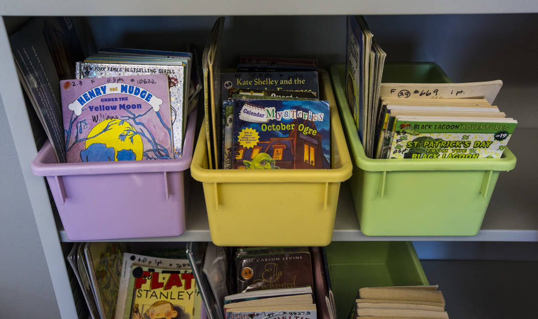 Books on display in a classroom after a ribbon-cutting ceremony for Earl Jenkins Elementary Sch ...