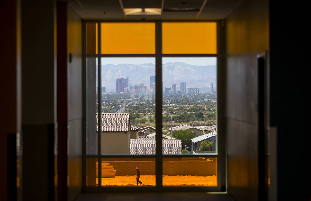 A view of the Las Vegas Strip from Earl Jenkins Elementary School in east Las Vegas on Friday, ...