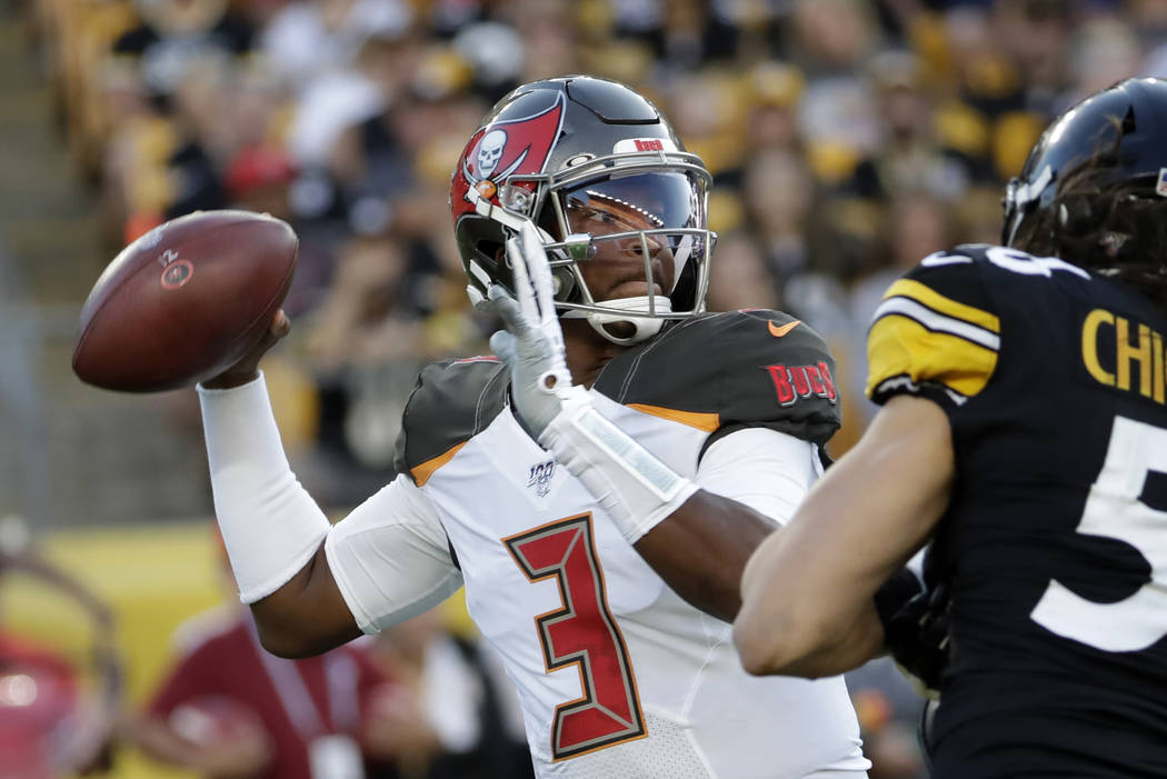 Tampa Bay Buccaneers quarterback Jameis Winston (3) looks to pass the ball during the first hal ...