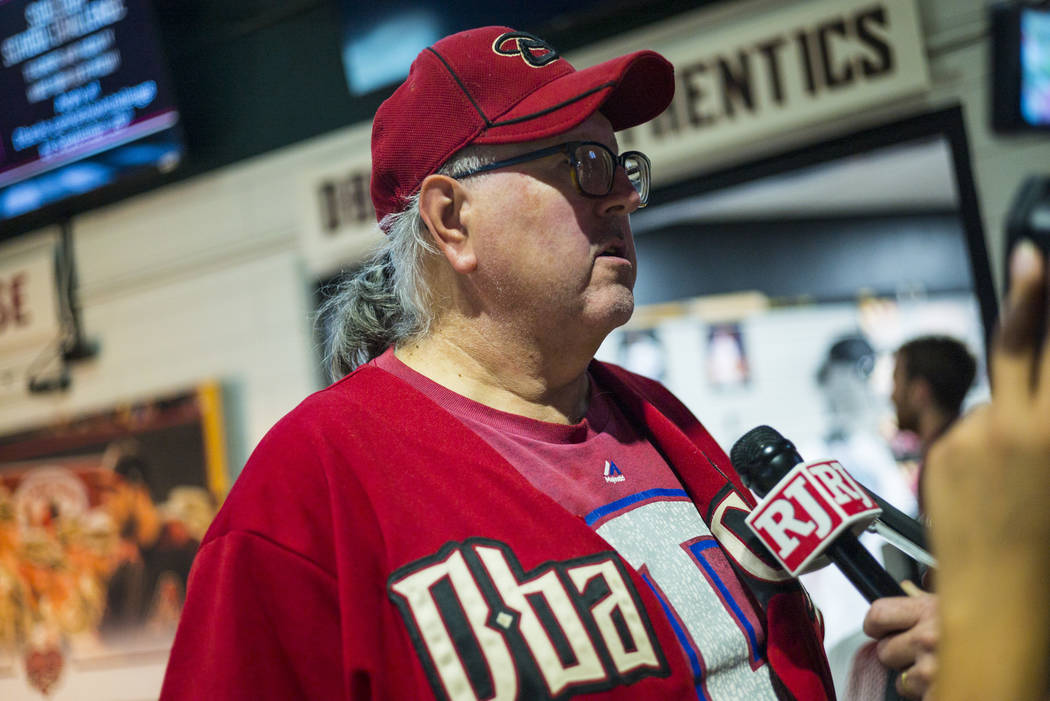 Blair Weicker, of Peoria, Ariz., talks about the Arizona Diamondbacks before a baseball game ag ...