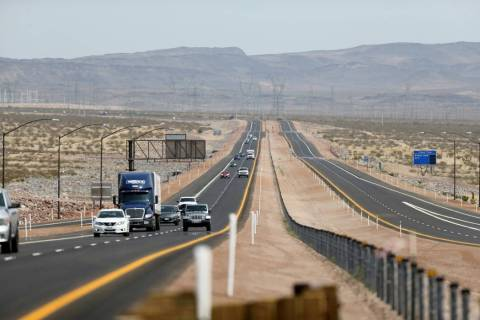 Traffic moves on the northbound lanes of Interstate 11 near U.S. Highway 95 near Boulder City o ...