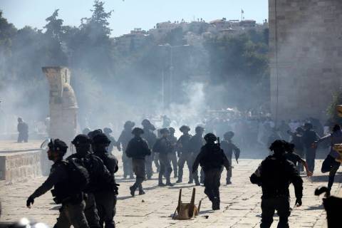 Israeli police clashes with Palestinian worshippers at al-Aqsa mosque compound in Jerusalem, Su ...