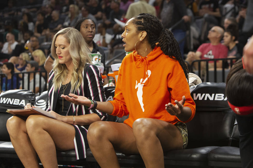 Las Vegas Aces forward A'ja Wilson (22) gestures during the first half of a WNBA basketball gam ...