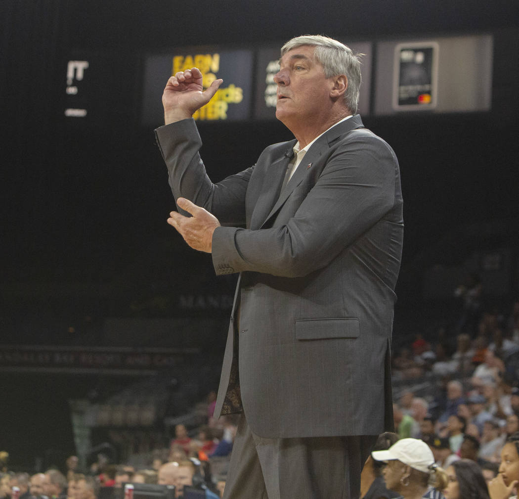 Las Vegas Aces head coach Bill Laimbeer asked for a foul to be called on a play during the firs ...
