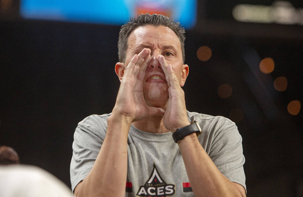 Las Vegas Aces fan Ty Salazar, of North Las Vegas, calls out a play during the Aces game agains ...