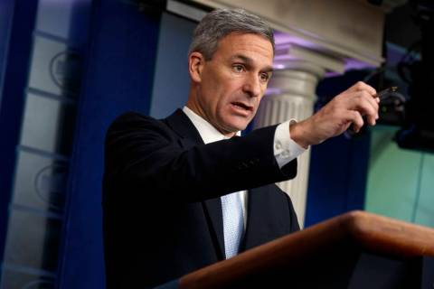 Acting director of the U.S. Citizenship and Immigration Services, Ken Cuccinelli, speaks during ...