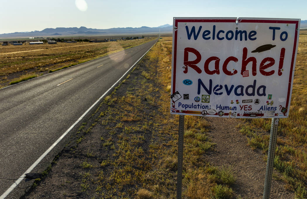 A sign welcomes visitors as they enter the town of Rachel, which is to be a gathering site for ...
