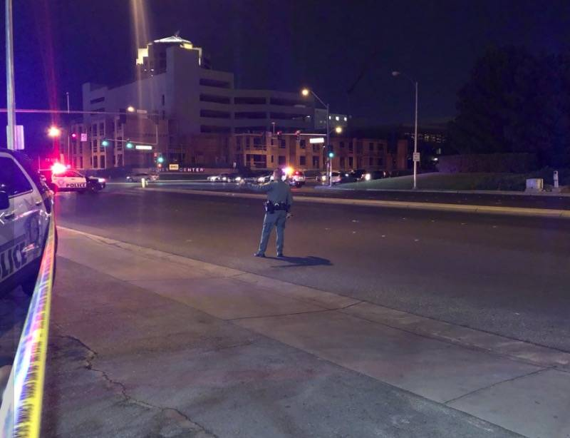Las Vegas police officers respond after an officer-involved shooting in the 3600 block of Parad ...