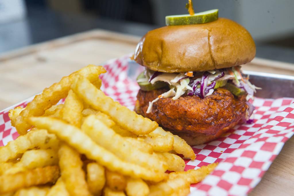 Hot chicken sandwich by Hattie B's at Block 16 Urban Food Hall inside The Cosmopolitan of Las V ...