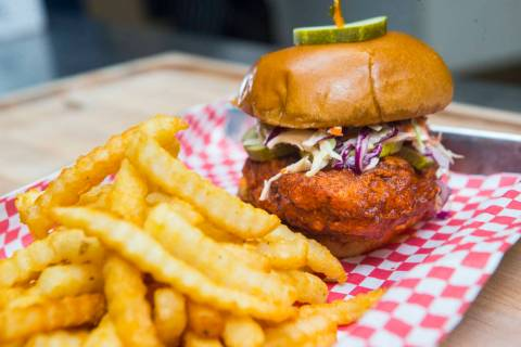 Hot chicken sandwich by Hattie B's at Block 16 Urban Food Hall inside The Cosmopolitan of Las V ...