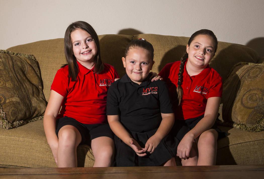 Sisters, from left, Trinity Ybarra, 8, Nala Ybarra, 5, and Elia Ybarra, 9, hope they can contin ...
