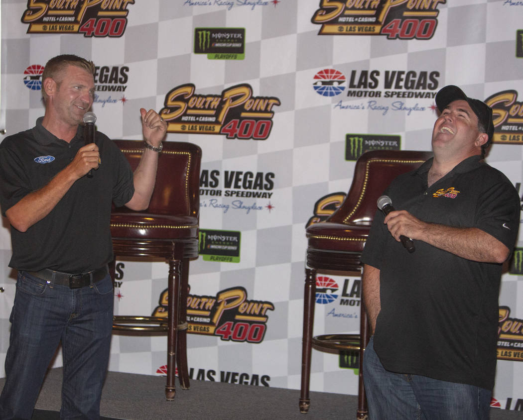 Nascar professional Clint Bowyer, and professional stock car racer Brendan Gaughan laugh while ...
