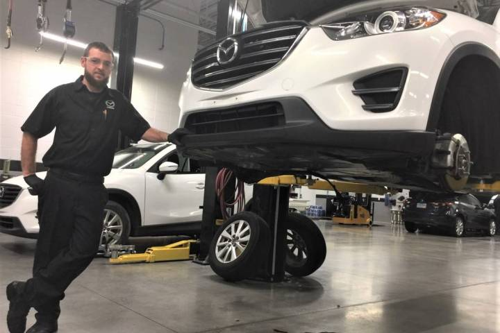 Findlay Mazda technician Tony Tinnell can't imagine working anywhere else. (Findlay)