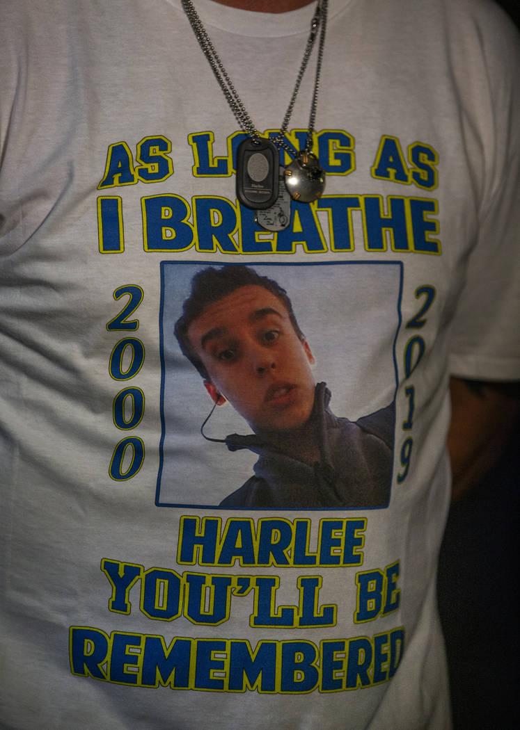 A t-shirt worn by Jason Deborski in honor of his son Harlee Deborski during a candlelight vigil ...