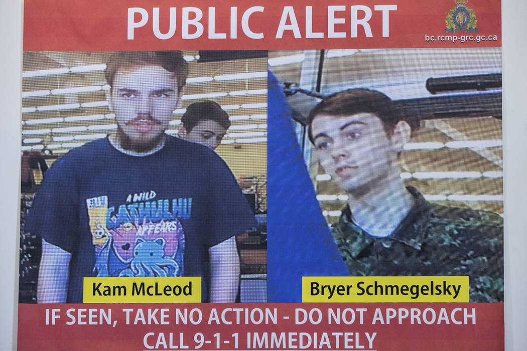 In this July 23, 2019 file photo, security camera images of fugitives Kam McLeod, 19, and Bryer ...