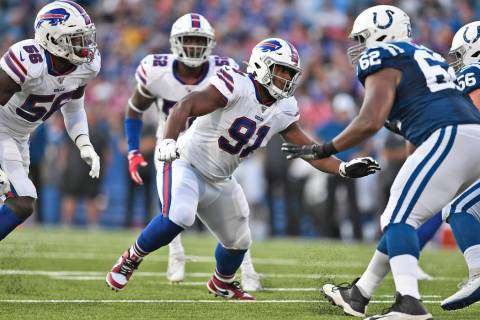 Buffalo Bills defensive tackle Ed Oliver (91) during the first half of an NFL preseason footbal ...
