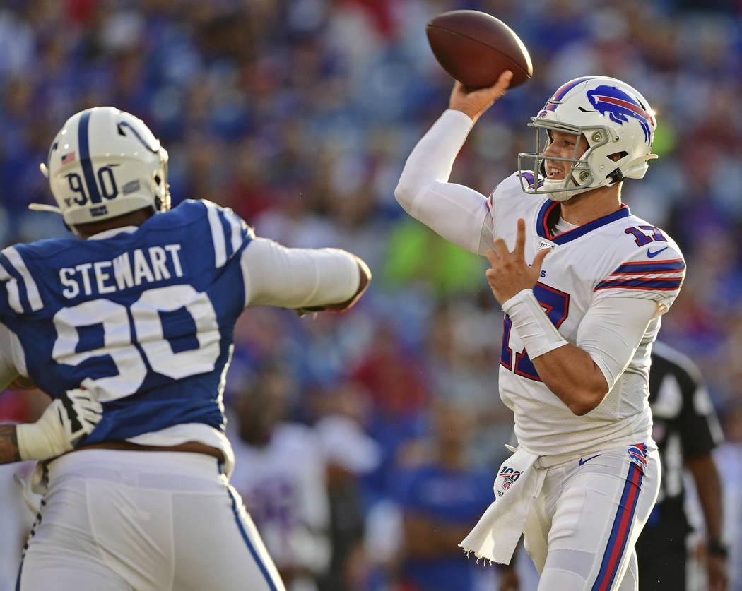 Buffalo Bills' quarterback Josh Allen (17) throws a pass during the first half of an NFL presea ...