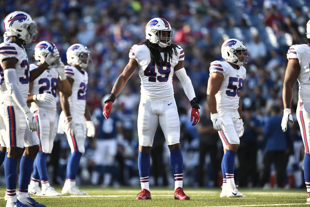 Buffalo Bills' Tremaine Edmunds (49) during the first half of an NFL preseason football game ag ...
