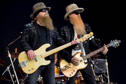 FILE - In this June 24, 2016, file photo, Dusty Hill, left, and Billy Gibbons from the rock ban ...