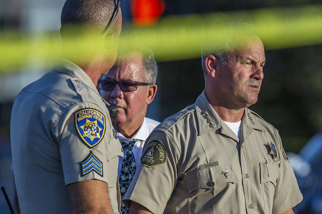 Riverside County Sheriff Chad Bianco, right, with Riverside City Police Chief Sergio G. Diaz, c ...