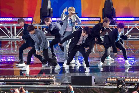 "FiLE - In this May 15, 2019, file photo, South Korean boy band BTS perform on ABC's ""Good ..."