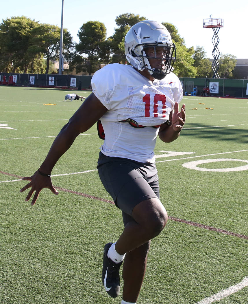 UNLV Rebels wide receiver Darren Woods Jr. (10) warms up during team practice on Tuesday, Aug. ...