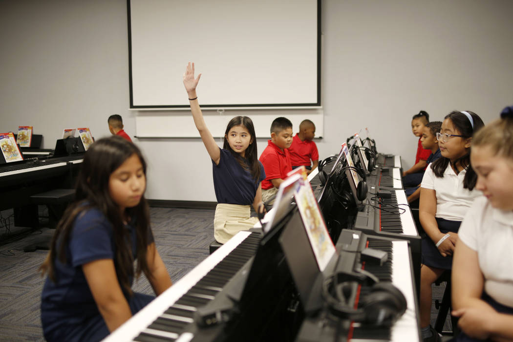Legacy Traditional School students participate in their Mozart preforming arts class during the ...