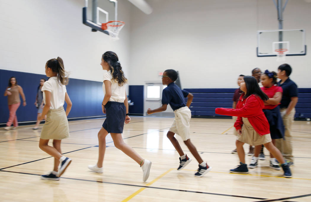 Legacy Traditional School students finish their gym class during the opening week of the southw ...