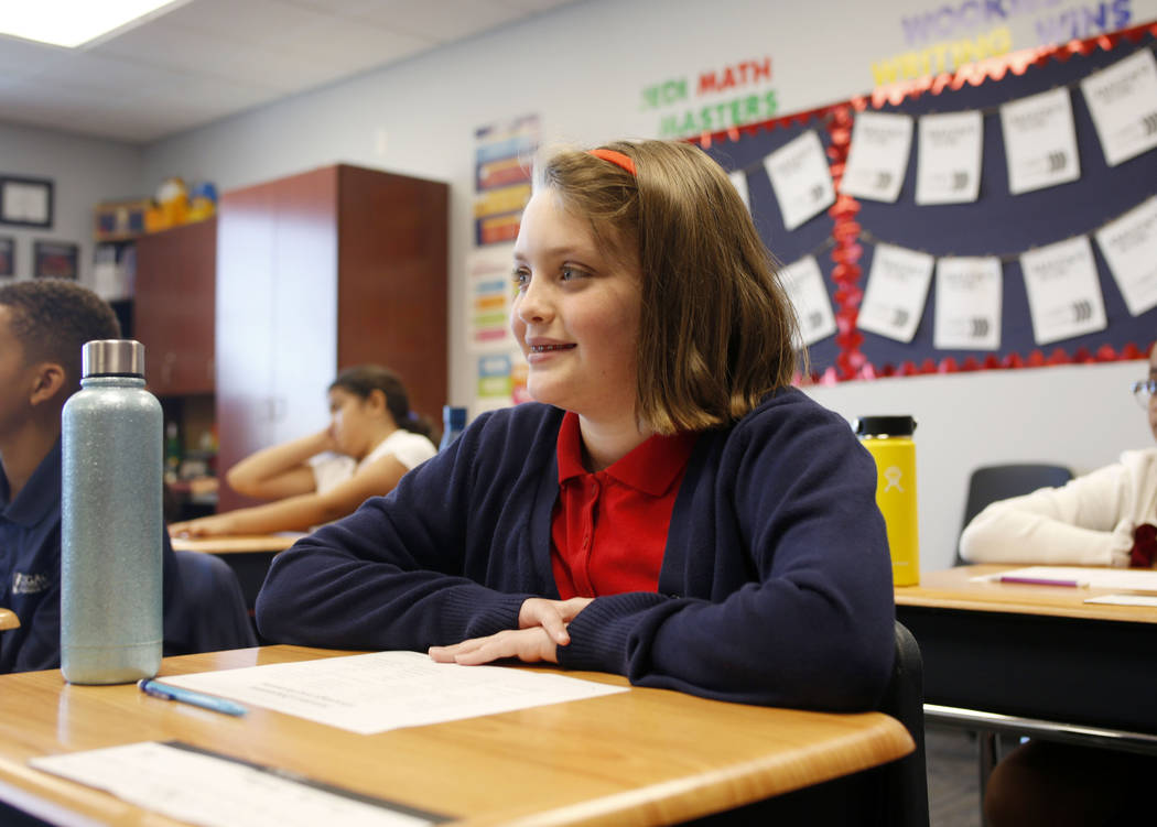 Emalee Bolling, 11, participates in her sixth grade Spanish class at Legacy Traditional School ...