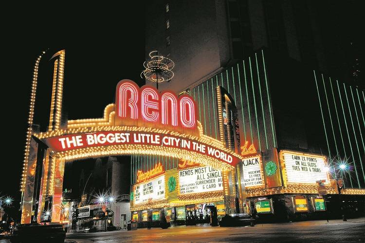 "The sign proclaiming Reno as ""The Biggest Little City In The World"" is seen on Virginia Str ..."