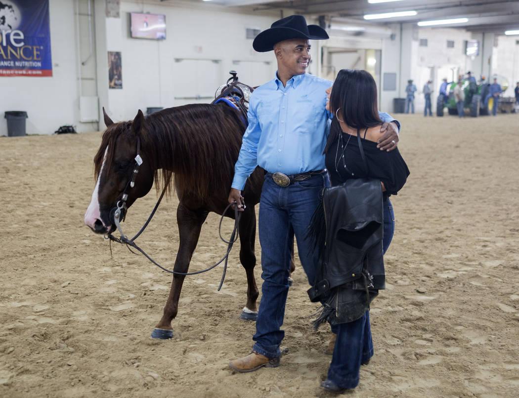 Reining expert Matt Mills, left, and Karen Mills at the South Point Arena in Las Vegas on Frida ...