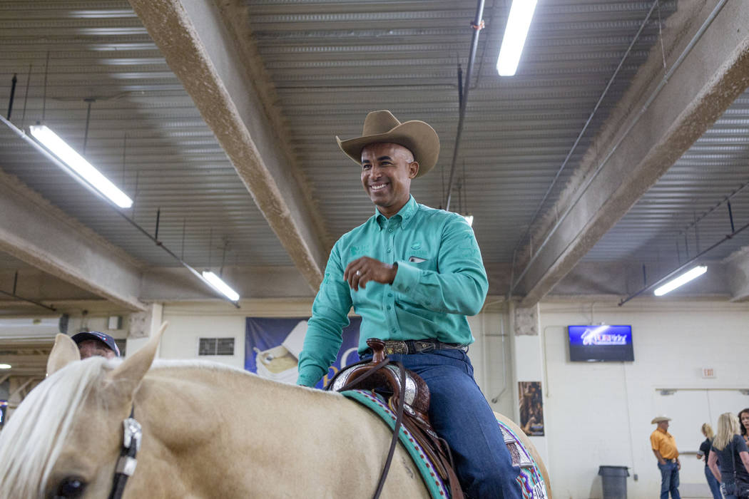 Reining expert Matt Mills at the South Point Arena in Las Vegas on Friday, Aug. 16, 2019. Mills ...