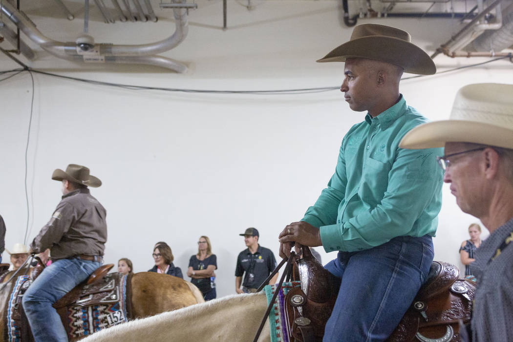 Reining expert Matt Mills, left, and South Point Arena general manager Steve Stallworth at the ...