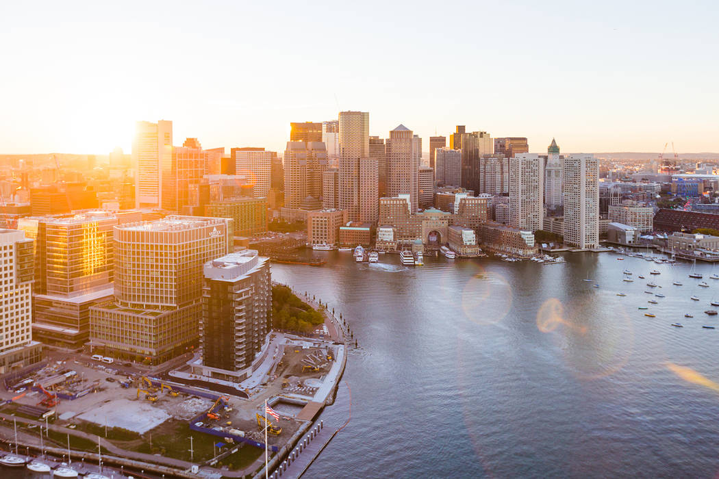 Aerial photograph of the East Boston Waterfront at Sunset. (Getty Images)